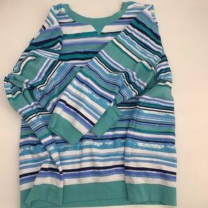 Woman within size 5x sweat shirt striped blue